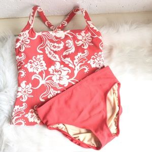 Lands' End coral & white floral two piece swimsuit